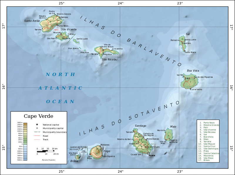 Map of the Cape Verde Islands